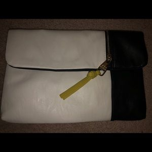 Black and white Steve Madden clutch